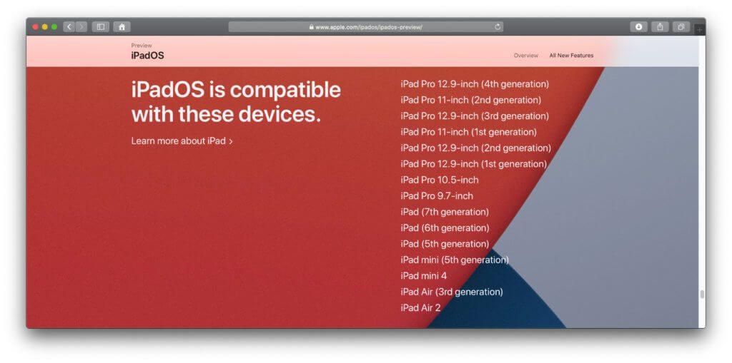 Liste der mit iPadOS 14 kompatiblen iPad-Modelle von Apple. Screenshot von der offiziellen Preview-Seite.