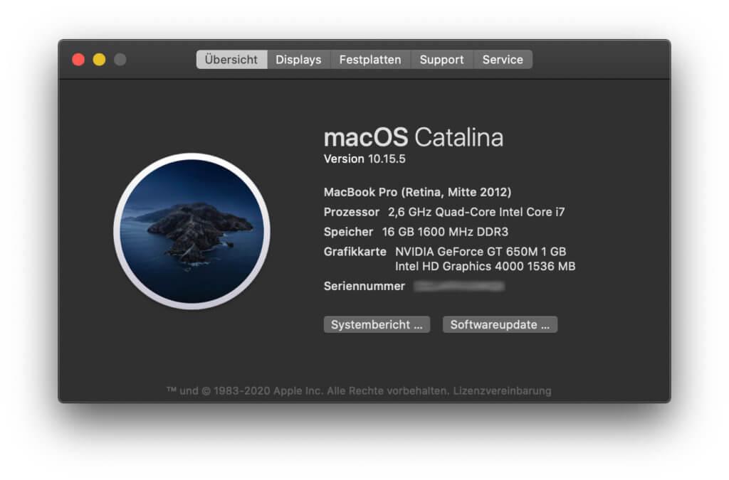 Macs aus 2012 sind nicht für das Upgrade auf das 2020-Betriebssystem gemacht. Ab dem MacBook Pro late 2013 geht's aber diesmal los ;)