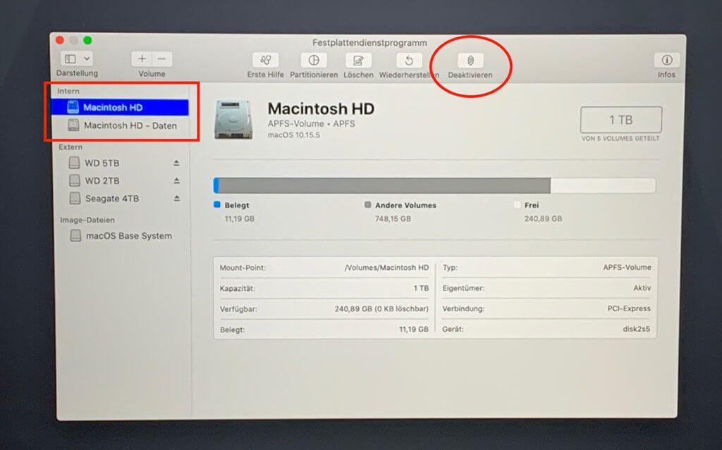 """Im Festplattendienstprogramm wird überprüft, ob die Macintosh HD aktiviert ist. Wenn dies der Fall ist, gibt es rechts oben den """"Deaktivieren"""" Button. Sonst würde dort """"Aktivieren"""" stehen."""