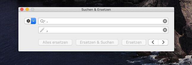 Numbers am Mac bietet leider keine Option, die Search-Replace-Funktion einzugrenzen.