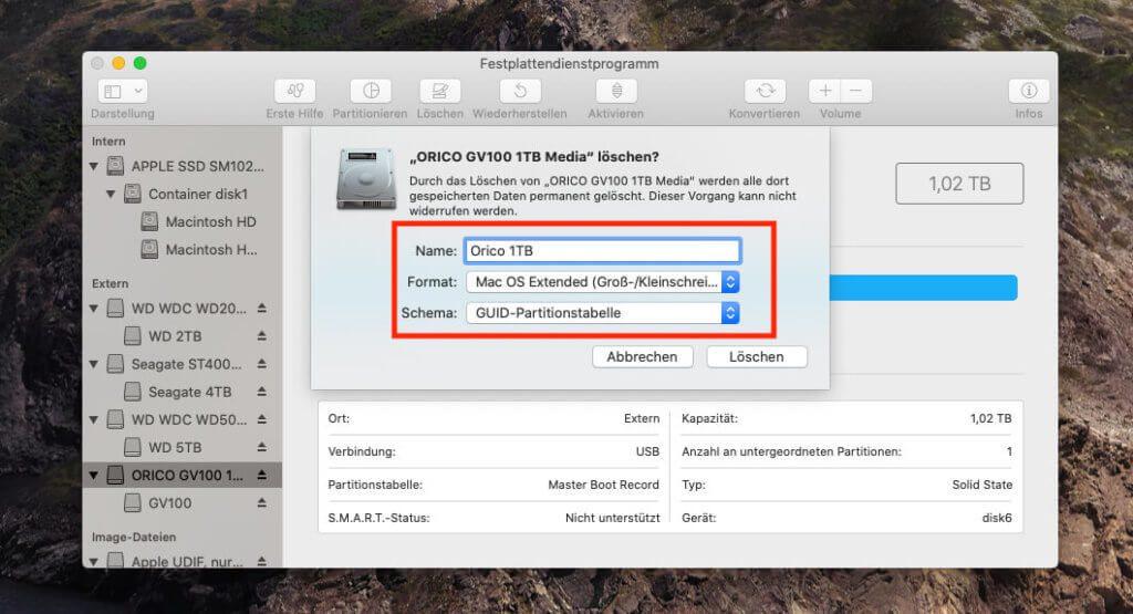 Das Umformatieren der Orico SSD dauert mit dem Festplattendienstprogramm am Mac nur wenige Sekunden.