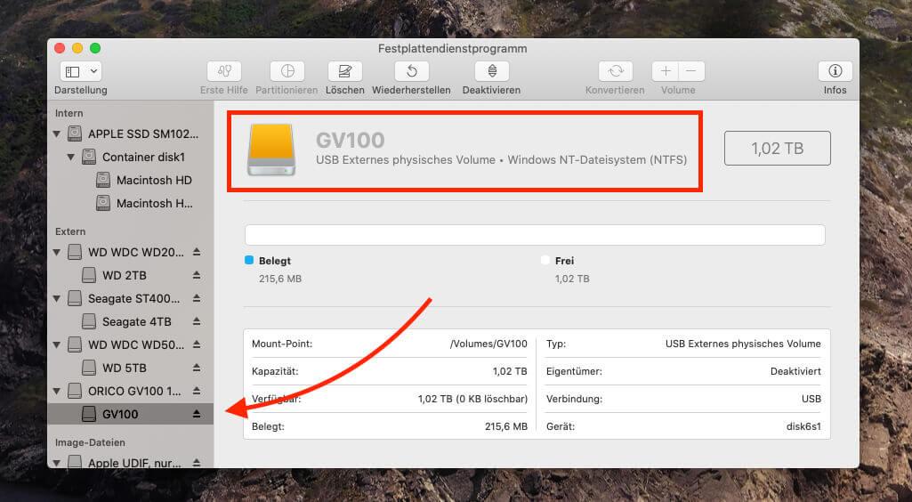Dass die Orico SSD auf NTFS formatiert ist, zeigt, dass sie als Zielgruppe eher Windows-Anwender anvisiert.