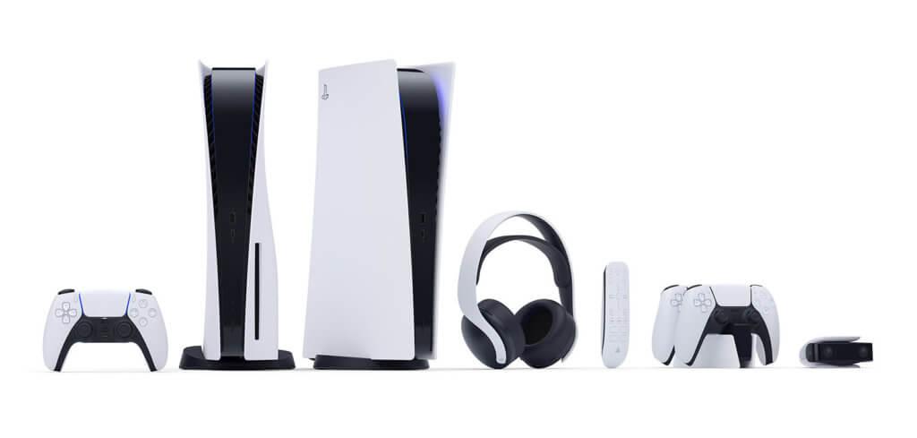Mit dem Design der PlayStation 5 konnte Sony überraschen. Neben der Konsole mit und ohne Disc-Laufwerk gibt es die DualSense Controller, eine entsprechende Ladestation, ein kabelloses Headset, eine Fernbedienung und eine Kamera. Bildquelle: Sony