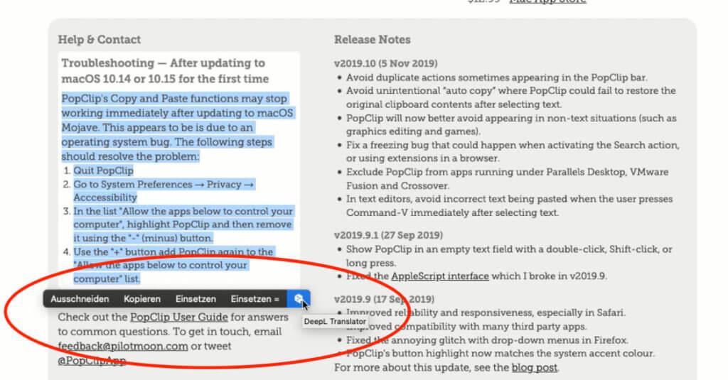 Hier sieht man den Button, um einen Text an DeepL zu senden – vorausgesetzt, man hat die entsprechende Extension installiert.