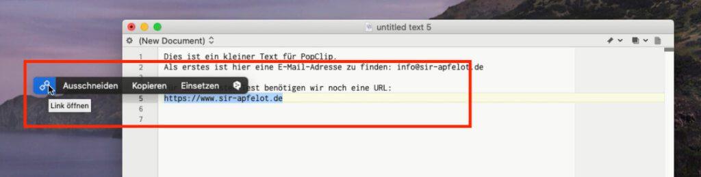 Markiert man eine Internetadresse, erscheint im PopClip Menü das Kettensymbol, um den Link direkt im Browser zu öffnen.