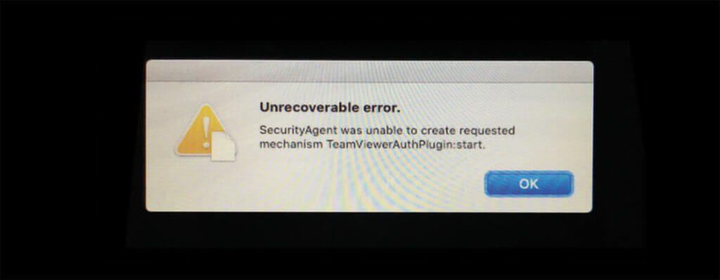 Unrecoverable Error: Wenn man TeamViewer nicht ordnetlich deinstalliert, kann es passieren, dass der Mac nicht mehr bootet.