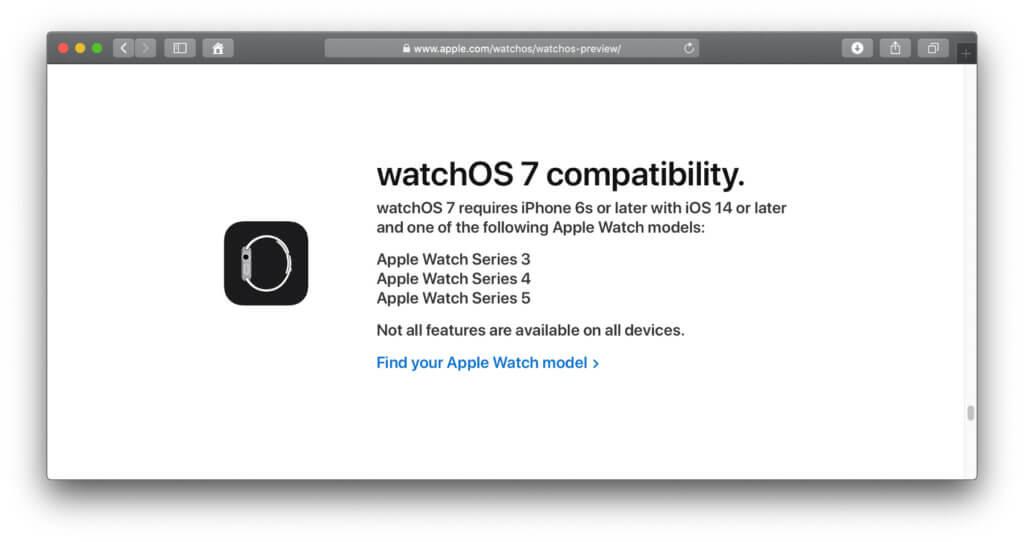 Screenshot von der Apple-Webseite mit der offiziellen watchOS 7 Preview.
