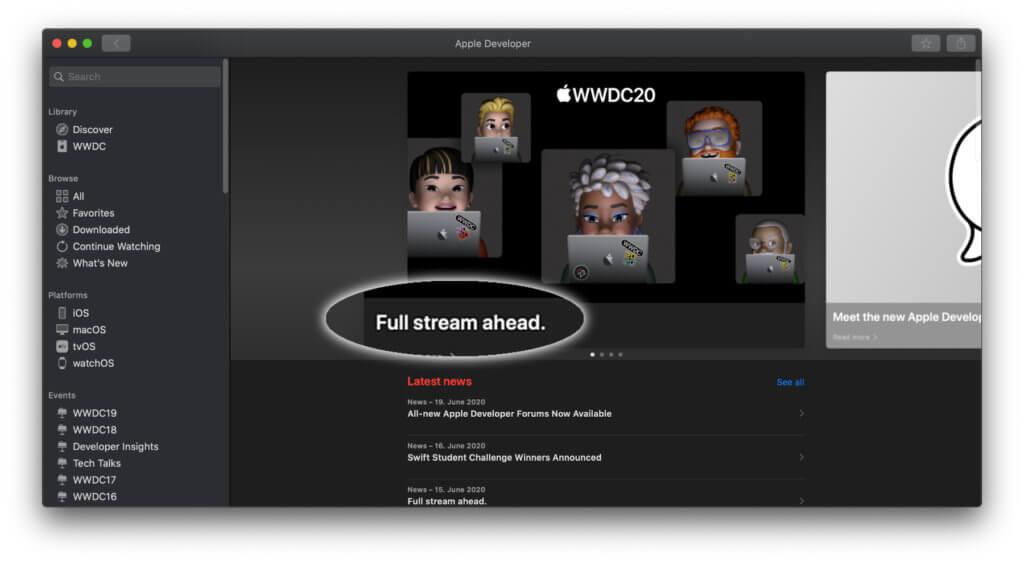 Den Apple WWDC Keynote Stream live anschauen – in der Developer App auf dem Mac wird diese Möglichkeit schon aufgezeigt ;)
