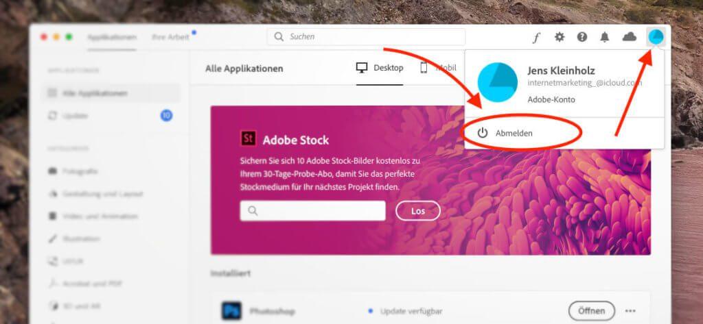 Über den Abmelden-Button in der Creative Cloud App kann man die Adobe-ID wechseln.