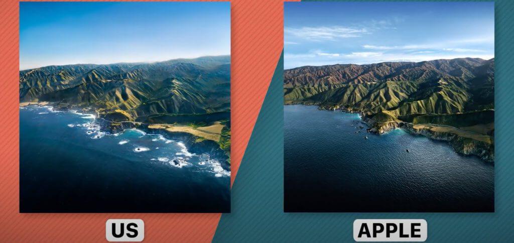 Die Nachbildung und das Apple-Original: Hier wurde das macOS 11.0 Big Sur Wallpaper von den YouTubern nachgestellt. Quelle: YouTube / Andrew Levitt