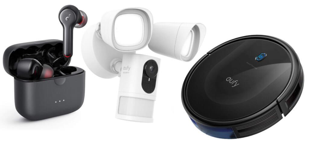 Unter den aktuellen Tages- und Wochenangeboten von Anker, Soundcore und eufy sind Lade-Zubehör, Staubsaugerroboter, Kopfhörer, eine Überwachungskamera mit Licht und mehr.