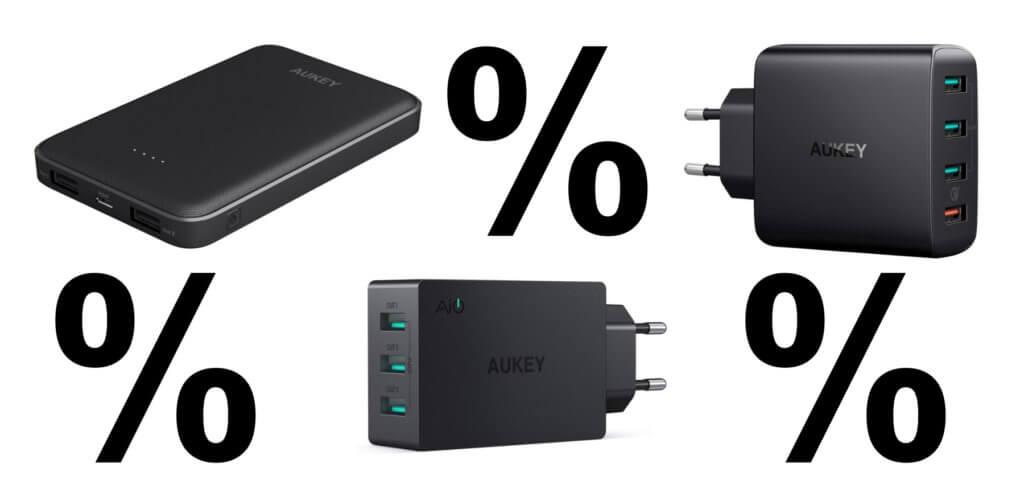 Neben USB-C Kabeln bekommt ihr diese beiden Ladegeräte und die gezeigte Powerbank von AUKEY günstiger, wenn ihr beim Einkauf über Amazon die unten aufgelisteten Rabatt-Codes nutzt.