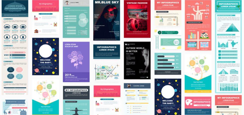 Edraw Infographic bietet verschiedene Vorlagen, Layouts, Symbole und Grafikinhalte, um informative Übersichten in professionellem Stil zu realisieren.