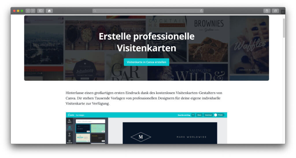 Die aufgeräumte Anbieter-Webseite hilft euch dabei, Visitenkarten selber zu machen und als Druck zu bestellen.