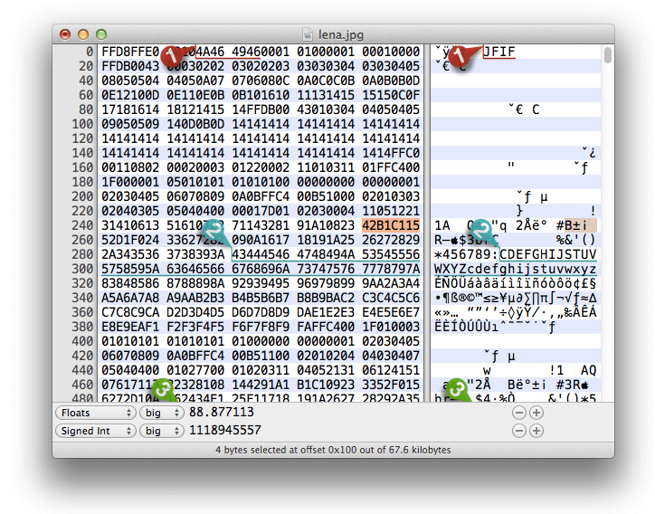 Die Data Inspector Funktion von Hex Fiend mit Anzeige von Bookmarks und verschiedenen Interpretationen.