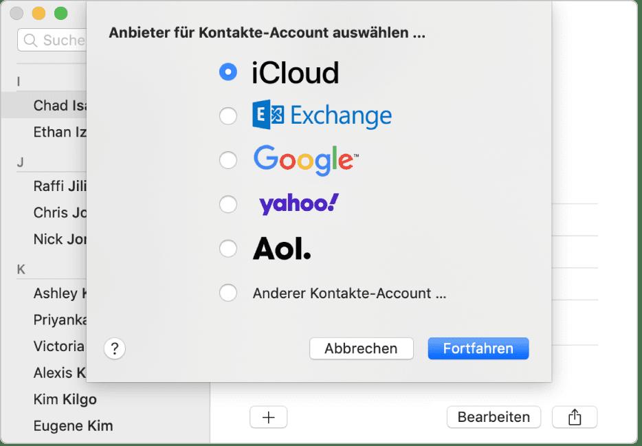 Cloud-basierte Kontaktdaten wie z. B. die über die iCloud kopierten Kontakte könnt ihr durch abmelden und wieder anmelden aktualisieren. Screenshot-Quelle: Apple.com