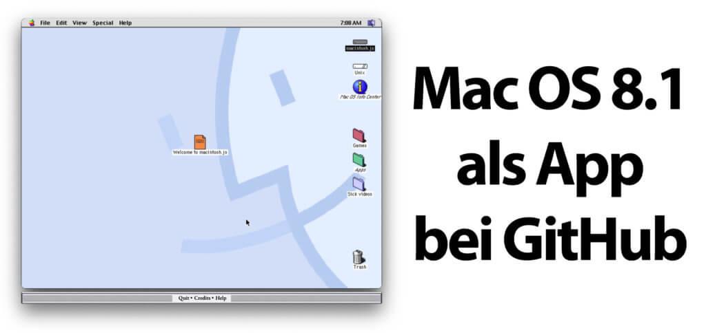 Mac OS 8.1 als App für macOS, Windows und Linux: Mit macintosh.js, das ihr kostenlos bei GitHub herunterladen könnt, hat der Programmierer Felix Rieseberg das 1998 Mac-Betriebssystem emuliert.