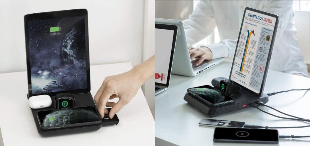 Die Pitaka Air Omni Ladestation lädt (gleichzeitig) das iPhone und das AirPods-Case per Qi-Technologie sowie die Apple Watch, das iPad und zwei USB-Geräte. Ein universelles Ladegerät für zuhause und das Büro.