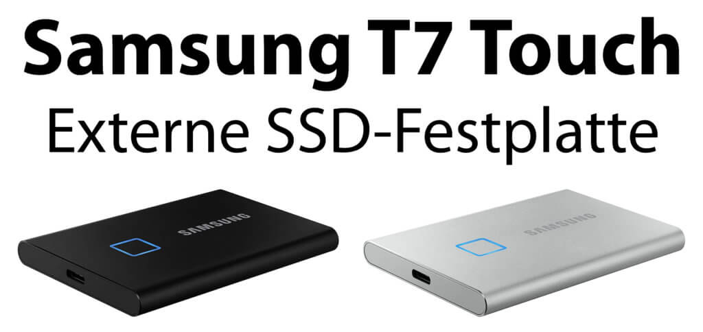 Die Samsung T7 Touch SSD-Festplatte ist ein mobiler Speicher mit 500 GB, 1 TB oder 2 TB Speicher und Fingerabdruck-Sensor. Bis zu vier Fingerabdrücke können die AES 256-Bit-Hardware-Verschlüsselung an einer der externen Festplatten ausschalten.