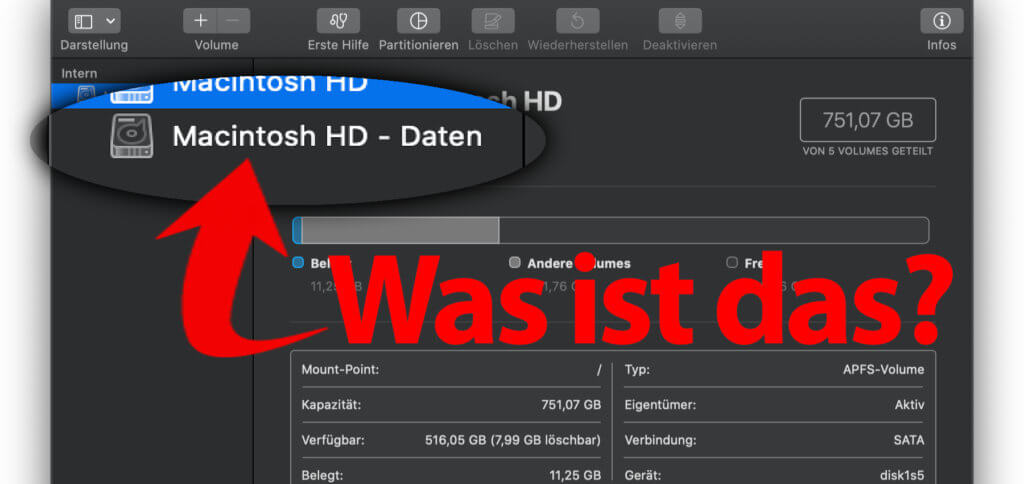 Was ist das Macintosh HD Daten Volume? Warum wird im Festplattendienstprogramm, aber nicht im Finder angezeigt? Und warum kann man es nicht löschen? Hier findet ihr alle Infos zum Thema.