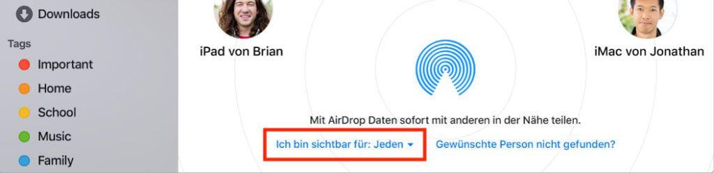 Am Mac findet man die AirDrop-EInstellungen nicht etwa in den Systemeinstellungen, sondern im AirDrop-Fenster selbst.