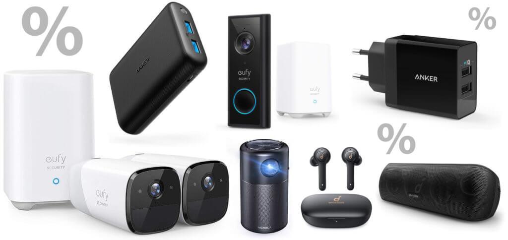 Einige der heute und bis Sonntag günstiger über Amazon angebotenen Produkte von Anker, eufy, Soundcore und Nebula. Alle Deals findet ihr in diesem Beitrag.
