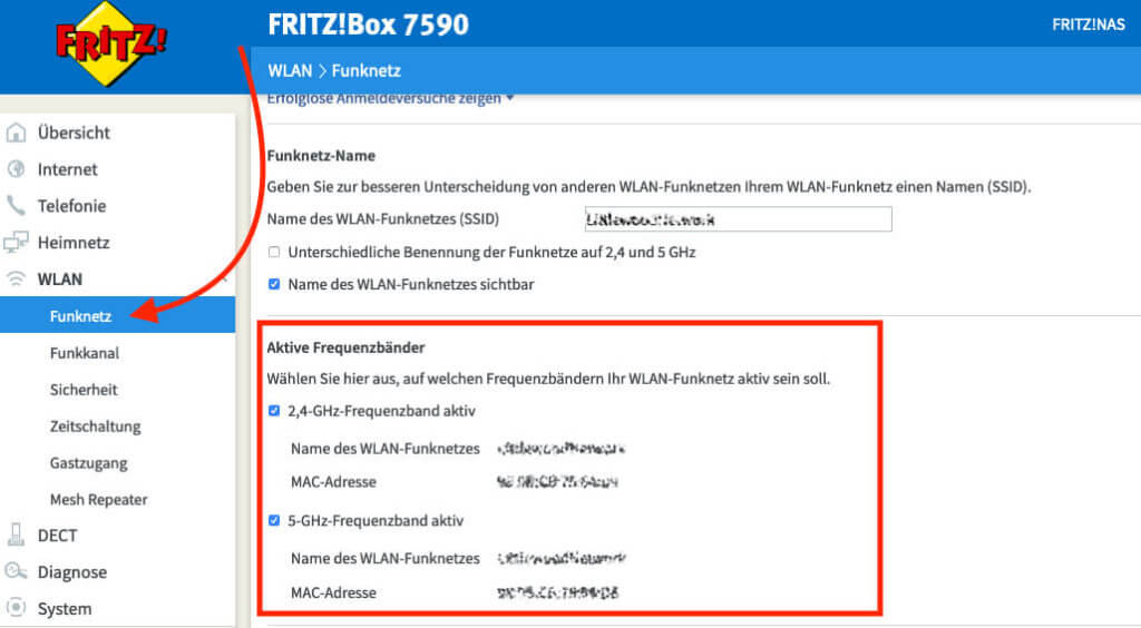 Im Screenshot sieht man, wo in den Fritz!Box Einstellungen die Funknetze einzeln deaktiviert bzw. aktiviert werden können. Vom Hersteller aus, sind erstmal beide Frequenzbänder aktiviert.
