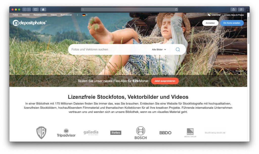 Depositphotos ist eine günstige Alternative zu iStock, Adobe Stock und Co. – Bilder und Stockfotos bekommt ihr hier teils schon ab 50 Cent in großer Auflösung.