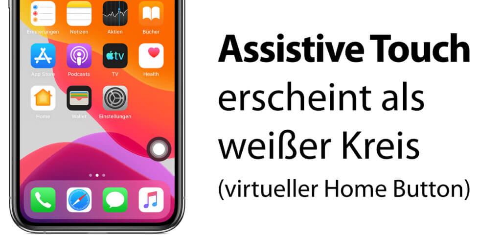Habt ihr über die iOS-Einstellungen oder Siri den Home-Button-Ersatz aktiviert, dann zeigt er sich als weißer Kreis auf dem Display. Er lässt sich frei an den Rändern des Displays positionieren (einfach hin und her schieben).