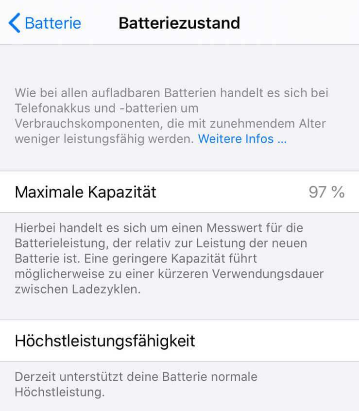 Hier sieht man die Screenshots des Batteriezustands. 97% sind völlig in Ordnung und zeigen, dass der Akku noch recht frisch ist. Ich tippe auf ca. 4-6 Monate Nutzung.