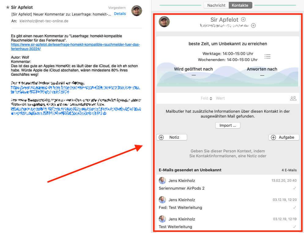 Über die Kontaktdetails findet man ein Übersichtsfenster mit allen Infos zu der entsprechende Person. Leider kann man die E-Mails, die unten aufgeführt werden nicht anklicken. Das schränkt die Funktionalität etwas ein.