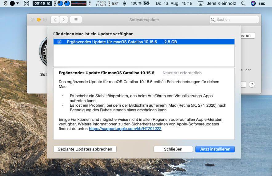 Im Fenster des macOS-Updaters wird man vorab kurz über die Änderungen informiert. Die Details erfährt man über einen Link zur Apple Support Seite.