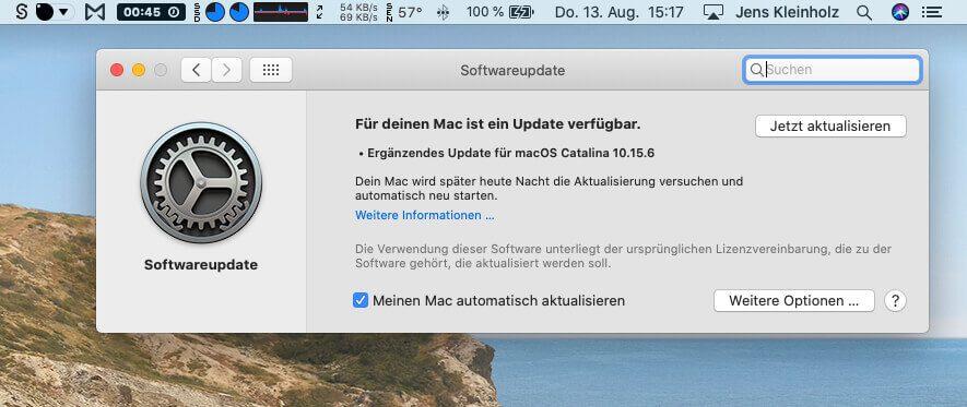Über die Systemeinstellungen findet man das Kontrollfeld Softwareupdate, über das man das Update auf macOS 10.15.6 manuell anstoßen kann.