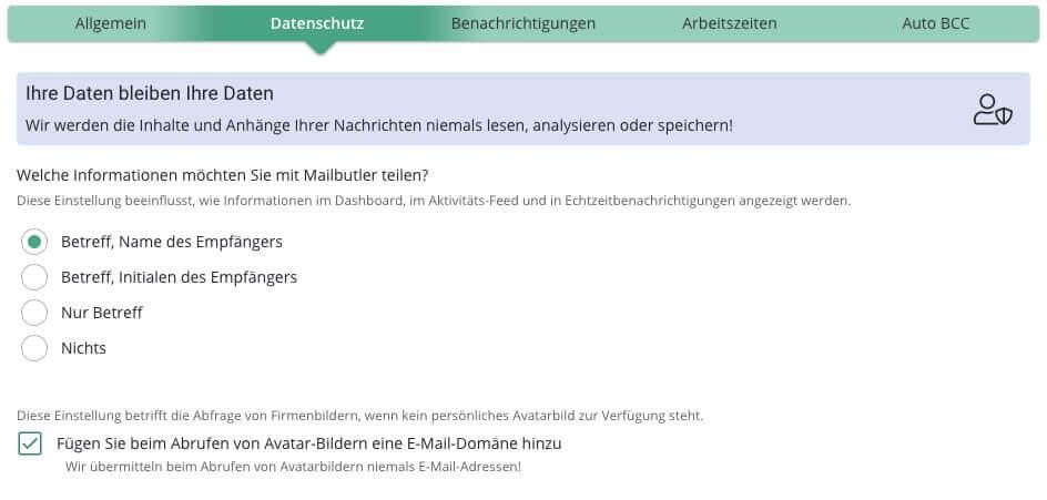 Da Mailbutler von einem deutschen Unternehmen entwickelt wird, ist der Datenschutz eine Sache, über die transparent informiert wird.