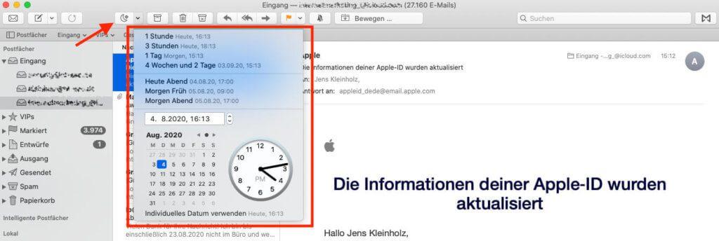 Über die Snooze-Funktion von Mailbutler lassen sich Mails beliebig lange ausblenden. Wenn die Zeit gekommen ist, erscheinen sie dann als ungelesene Mail im Posteingang.
