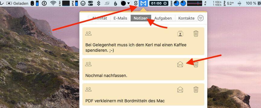 """Über das Menüicon von Mailbutler kann man zum Beispiel den Bereich """"Notzien"""" aufrufen und dort alle Notizen durchsuchen und finden, die man zu Kontakten oder einzelnen E-Mails angelegt hat. Ein Klick auf das Mailsymbol öffnet die entsprechende Mail."""
