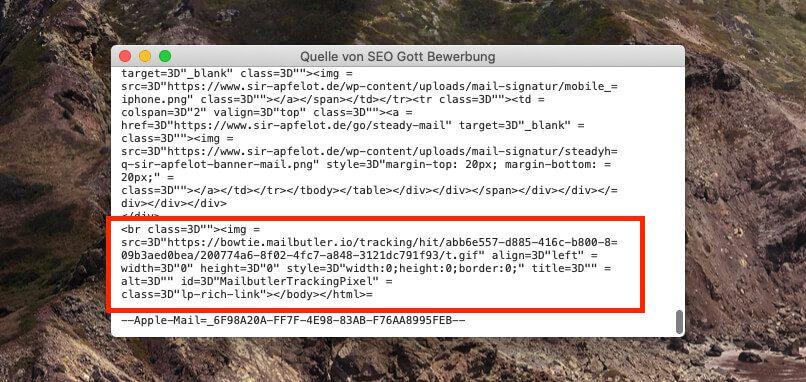 Sieht man sich die reine E-Mail im Quellcode an, sieht man in der HTML-Variante, dass unten immer ein Trackingpixel eingebaut wird. Dadurch kann Mailbutler das Empfangen und Öffnen der Mail registrieren.
