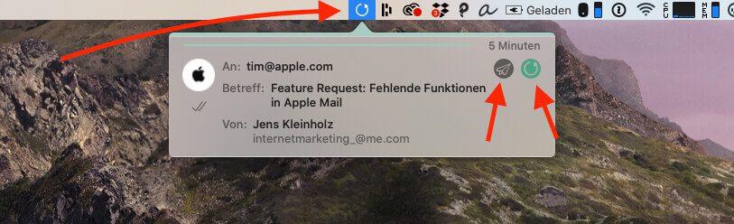 """Jede Mail, die ich versende, wird mit 5 Minuten Verzögerung verschickt. Über den """"Zurückholen""""-Button in der Menüleiste kann man jede Mail in der Warteschleife direkt versenden oder tatsächlich zur Bearbeitung in die Entwürfe zurückholen."""