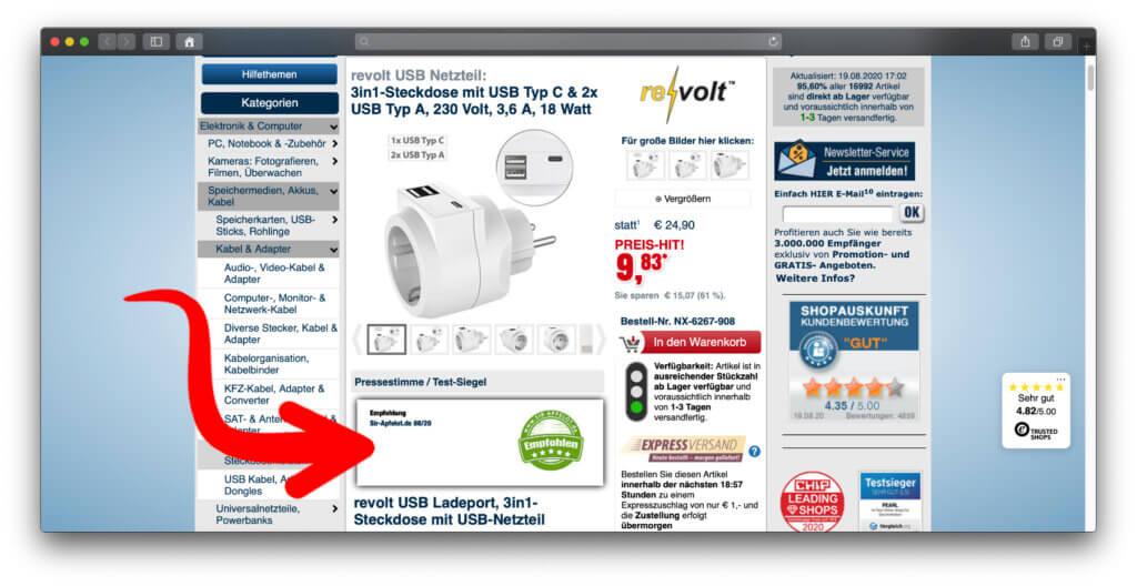 Auf der oben verlinkten Produktseite einer Schuko-Steckdose mit USB-A- und USB-C-Anschlüssen findet ihr den Hinweis auf meine Empfehlung.