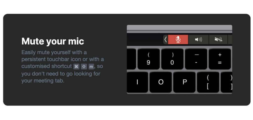 Eine Tastenkombination und eine Anzeige auf der Touch Bar des Apple MacBook Pro sorgen dafür, dass das Mikrofon schnell und einfach stummgeschaltet werden kann.