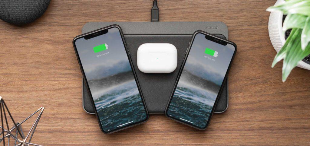 Die Nomad Base Station Pro ist eine Qi-Ladematte, auf der bis zu drei Geräte (Apple iPhone, Apple AirPods-Ladecase, Samsung Galaxy S10 / S20) in beliebiger Anordnung aufgeladen werden können.