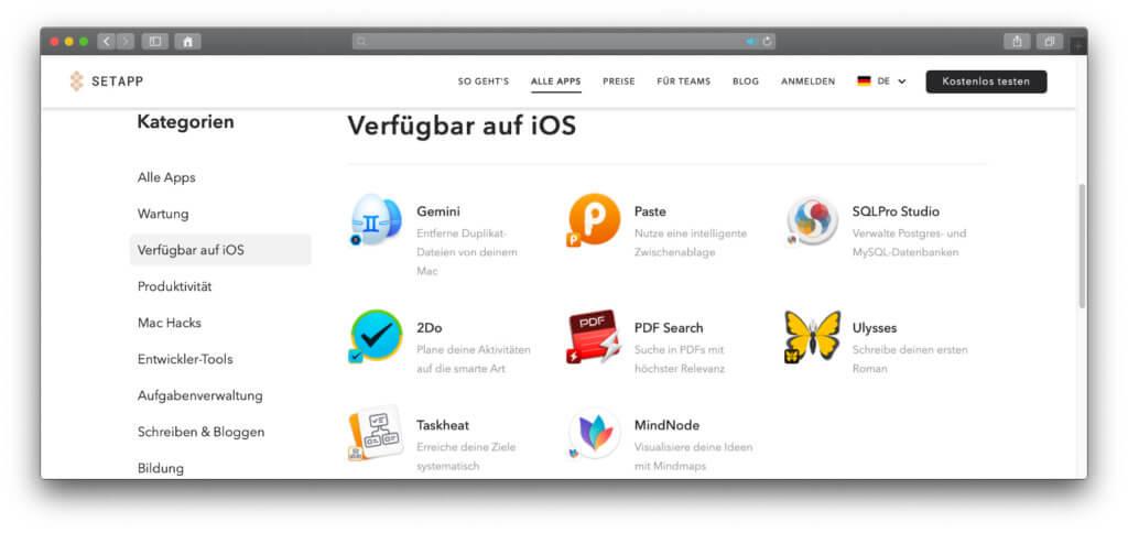 Die Auswahl der Setapp-Apps für iOS auf dem iPhone und iPadOS auf dem iPad ist noch recht klein, wird aber sicherlich schnell wachsen.