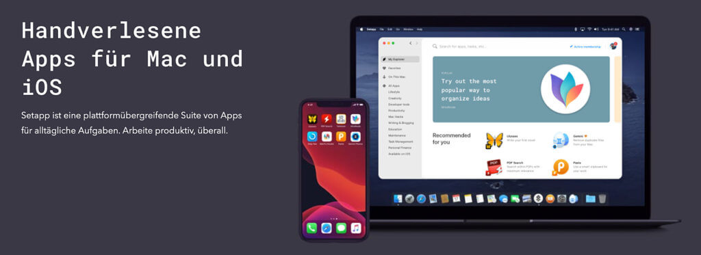 The Setapp app subscription is not only available for the Apple Mac, but now also for the iPhone and iPad. The additional subscription brings you full versions via QR code.