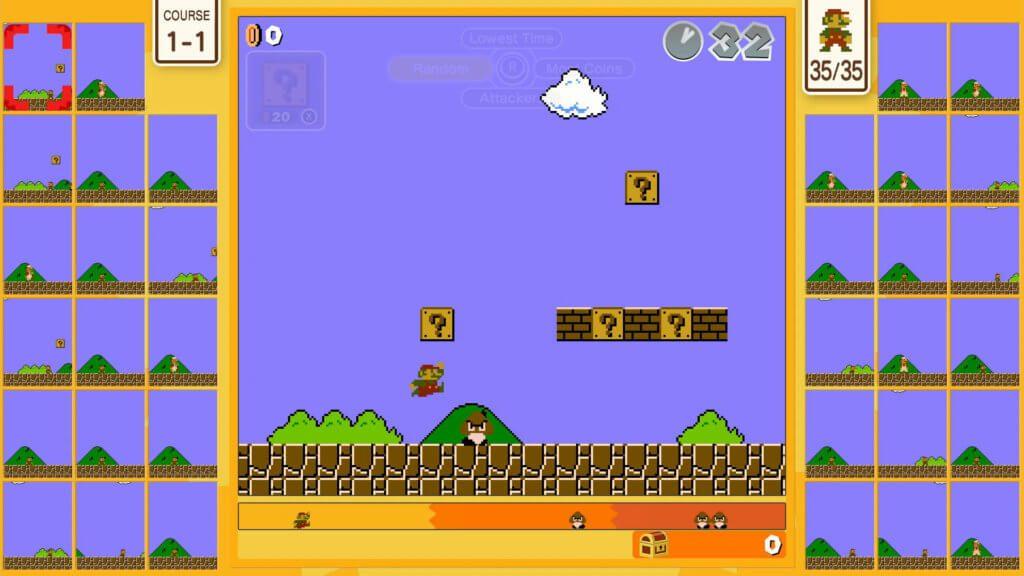 Mit Super Mario Bros. 35 wird das durch Tetris 99 erprobte Battle-System klassischer Videospiele neu genutzt. Wollt ihr im Spieleklassiker von 1985 gegen 34 andere Spieler/innen antreten? Hier habt ihr die Chance dazu! (Bildquelle: Nintendo.com)