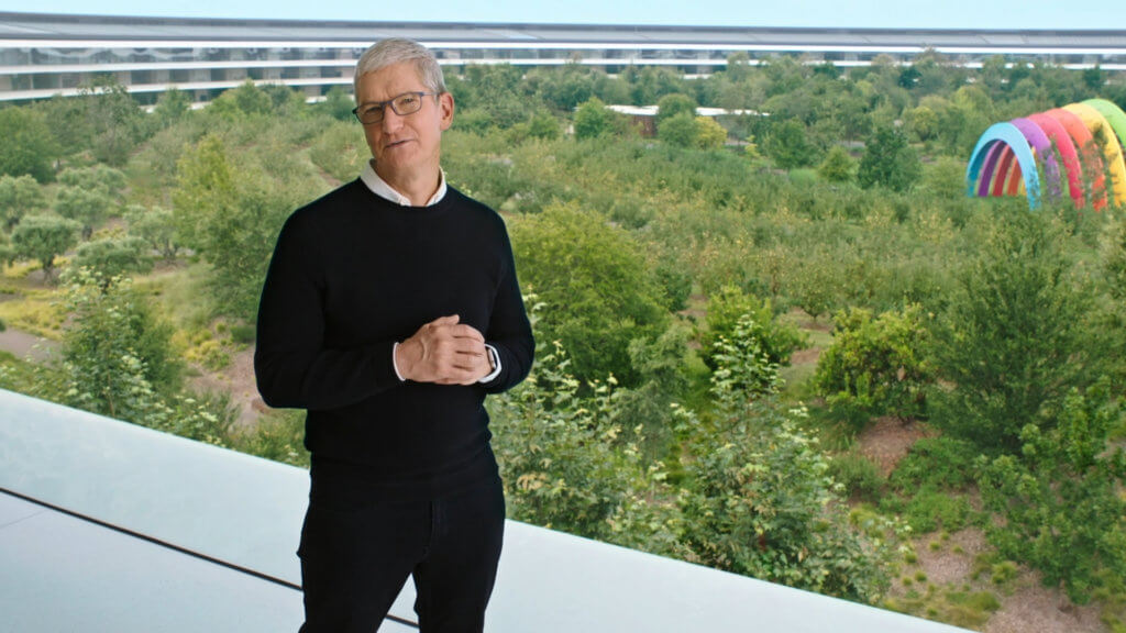 Wie üblich eröffnete Tim Cook, der CEO von Apple, das Event.