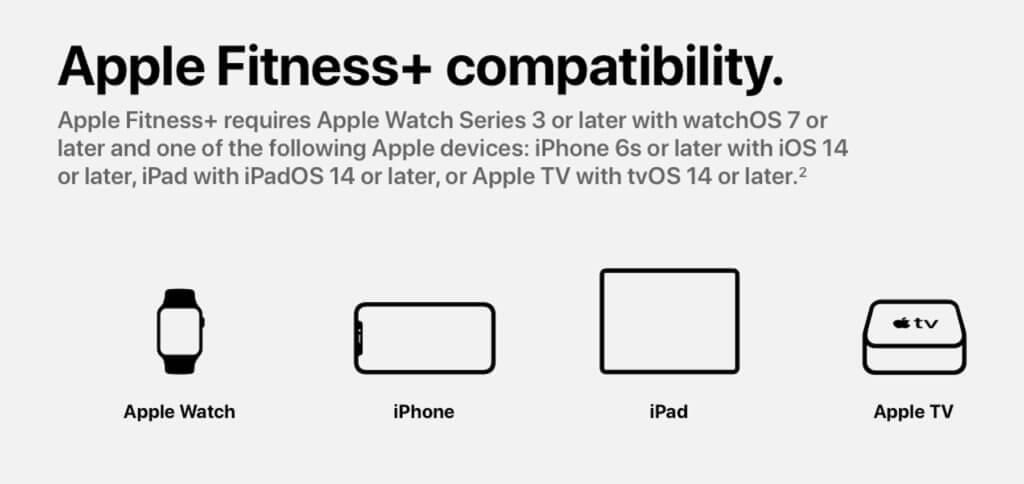Für die Nutzung von Fitness+ ist eine Apple Watch ab watchOS 7 Pflicht –genauso wie ein Ausgabegerät für die Workout-Videos.