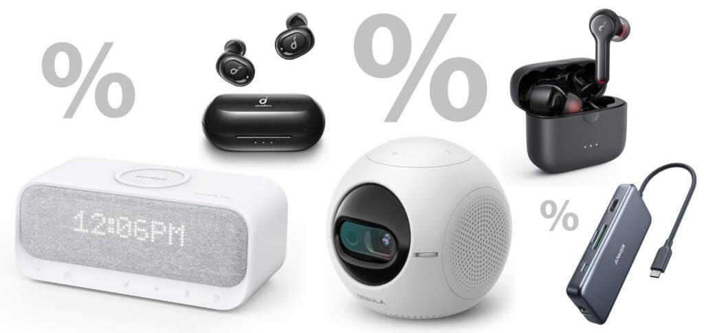 Diese Woche fallen die Anker Tages- und Wochenangebote auf Amazon nicht so umfangreich aus – dafür sind aber coole Produkte dabei. Von Soundcore kommen Lautsprecher und Kopfhörer, von Nebula ein Beamer und von der Hauptmarke ein USB-C-Hub.