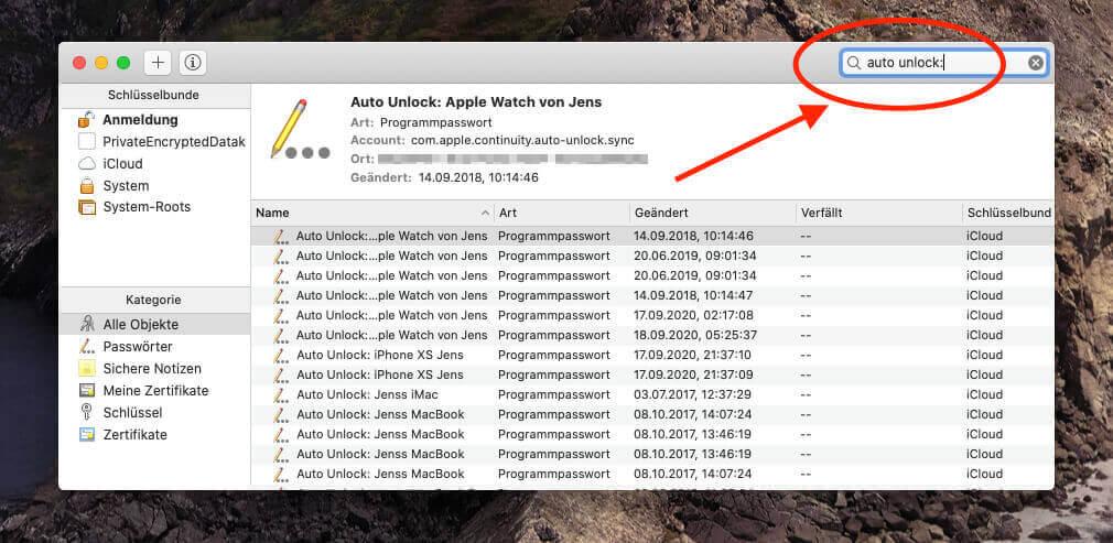 """In der Schlüsselbundverwaltung sucht man nach """"Auto Unlock:"""" und """"AutoUnlock"""" und entfernt die entsprechenden Einträge aus der Liste."""
