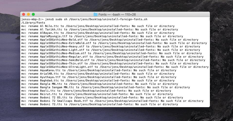Unter macOS Catalina ist die Ordnerstruktur für die Systemdateien dummerweise anders, sodass das Script nur jede Menge Fehler auswirft, aber nichts bewegt.