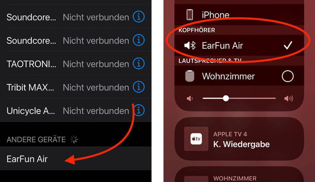 Das Pairing ist sehr einfach und schon nach wenigen Sekunden erscheinen die EarFun Air in der Liste der Wiedergabe-Möglichkeiten.